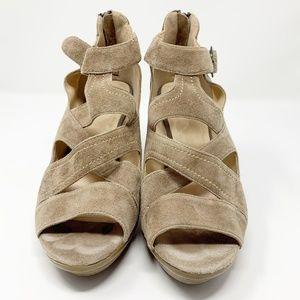 Blondo Suede Heeled Sandals Tan Size 9